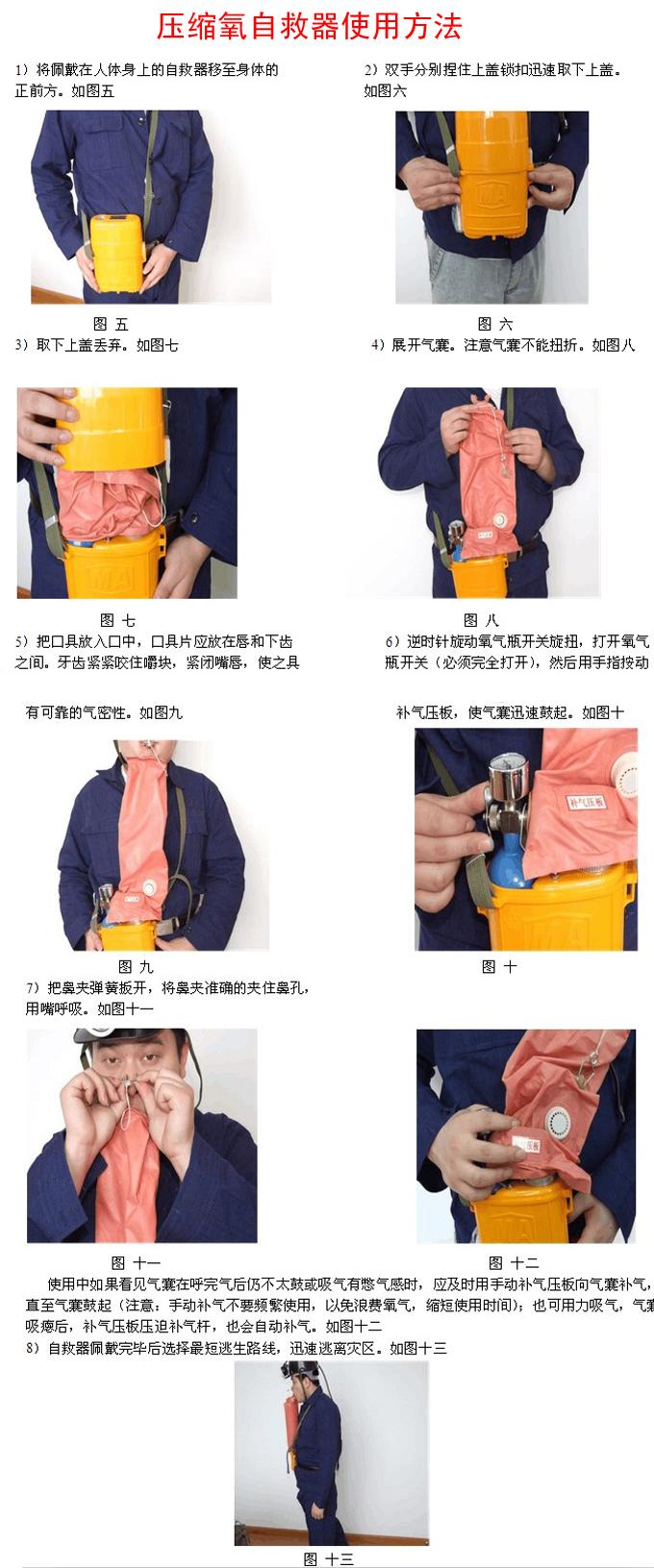 压缩氧自救器使用方法