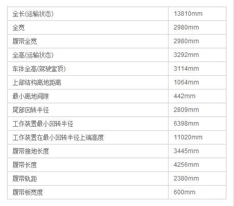 DLS220.8型加长臂液压挖掘机产品尺寸