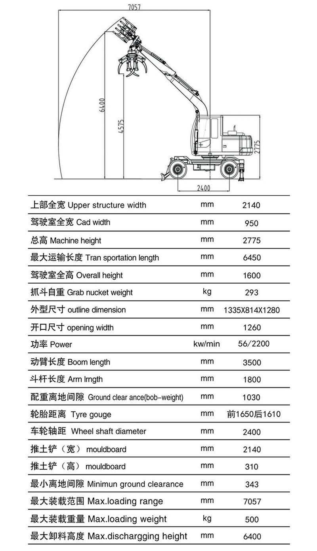 DLS890-9A轮式蔗木装卸机性能参数